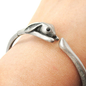 3D Bunny Rabbit Wrapped Around Your Wrist Shaped Bangle Bracelet in Silver | DOTOLY