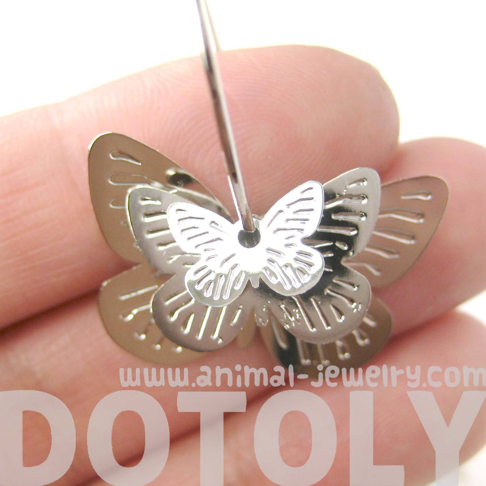 3D Butterfly Shaped Dangle Hoop Earrings in Silver | Animal Jewelry | DOTOLY