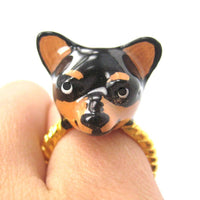 3D Chihuahua Dog Face Shaped Enamel Animal Ring Black and Tan | Limited Edition | DOTOLY