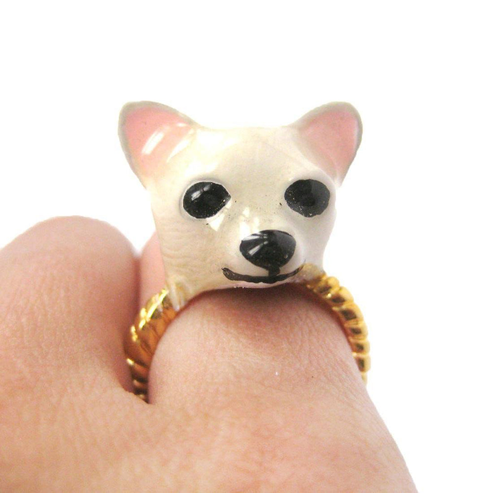 3D Chihuahua Dog Face Shaped Enamel Animal Ring in White | Limited Edition Jewelry | DOTOLY