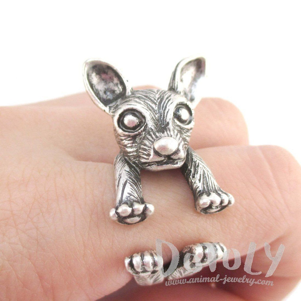 3D Chihuahua Dog Shaped Miniature Animal Ring in Silver | Animal Rings
