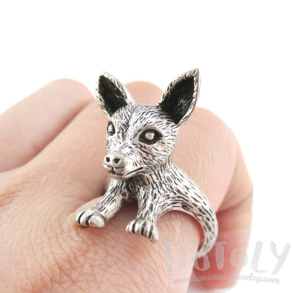 3D Chihuahua Puppy Shaped Animal Ring in Silver | Gifts for Dog Lovers | DOTOLY