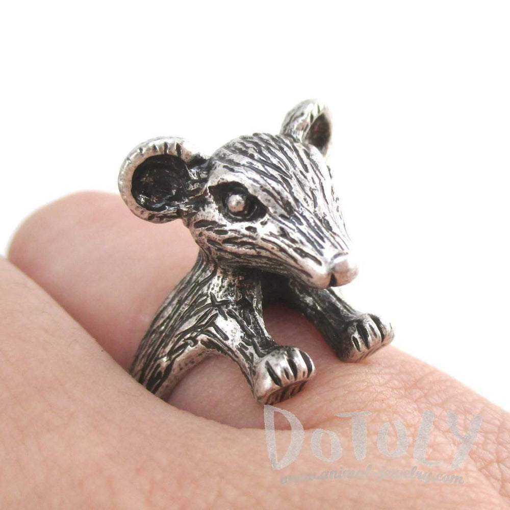 3D Chinchilla Mouse Shaped Ring in Silver | Animal Rings | DOTOLY