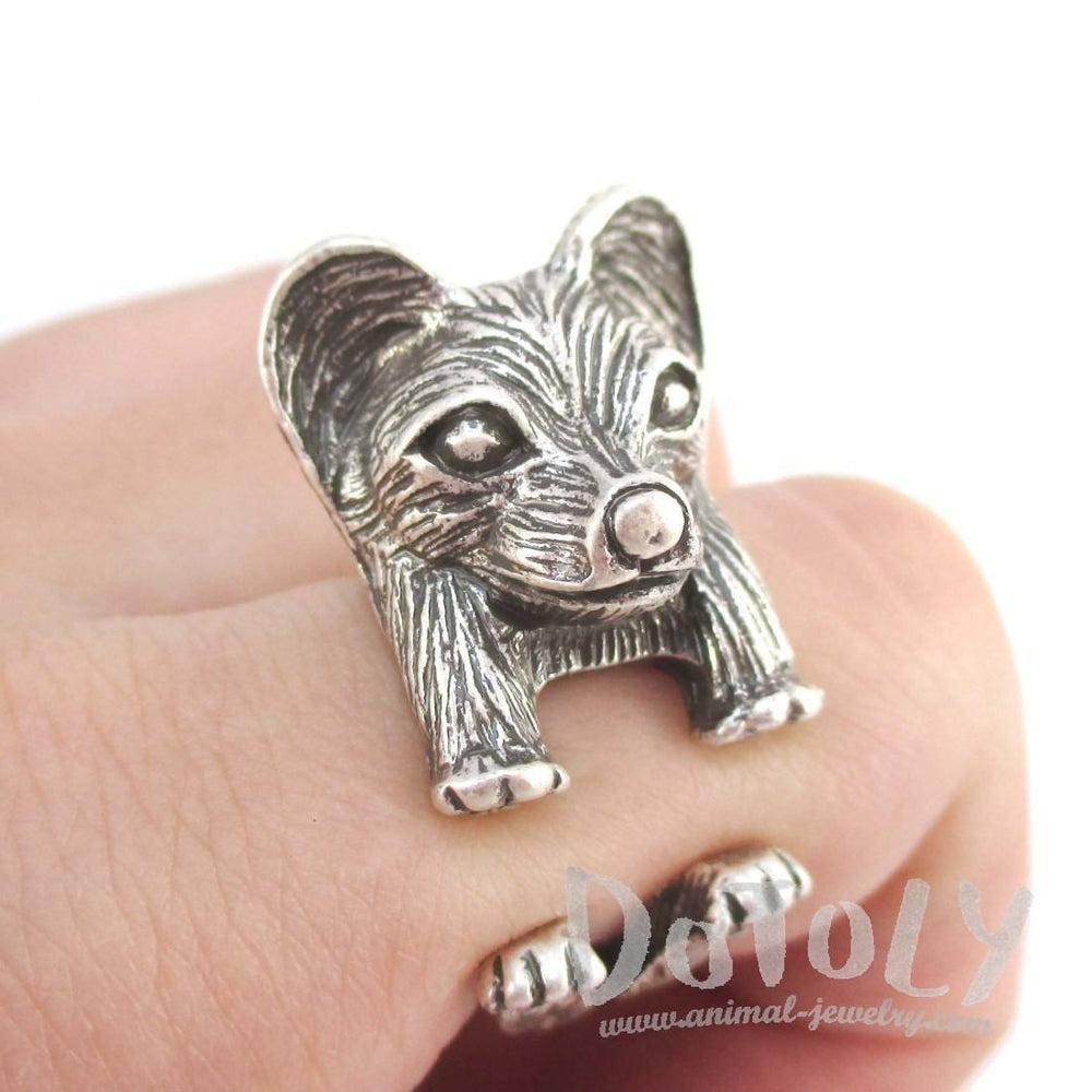 3D Continental Toy Spaniel Papillon Dog Shaped Animal Ring in Silver