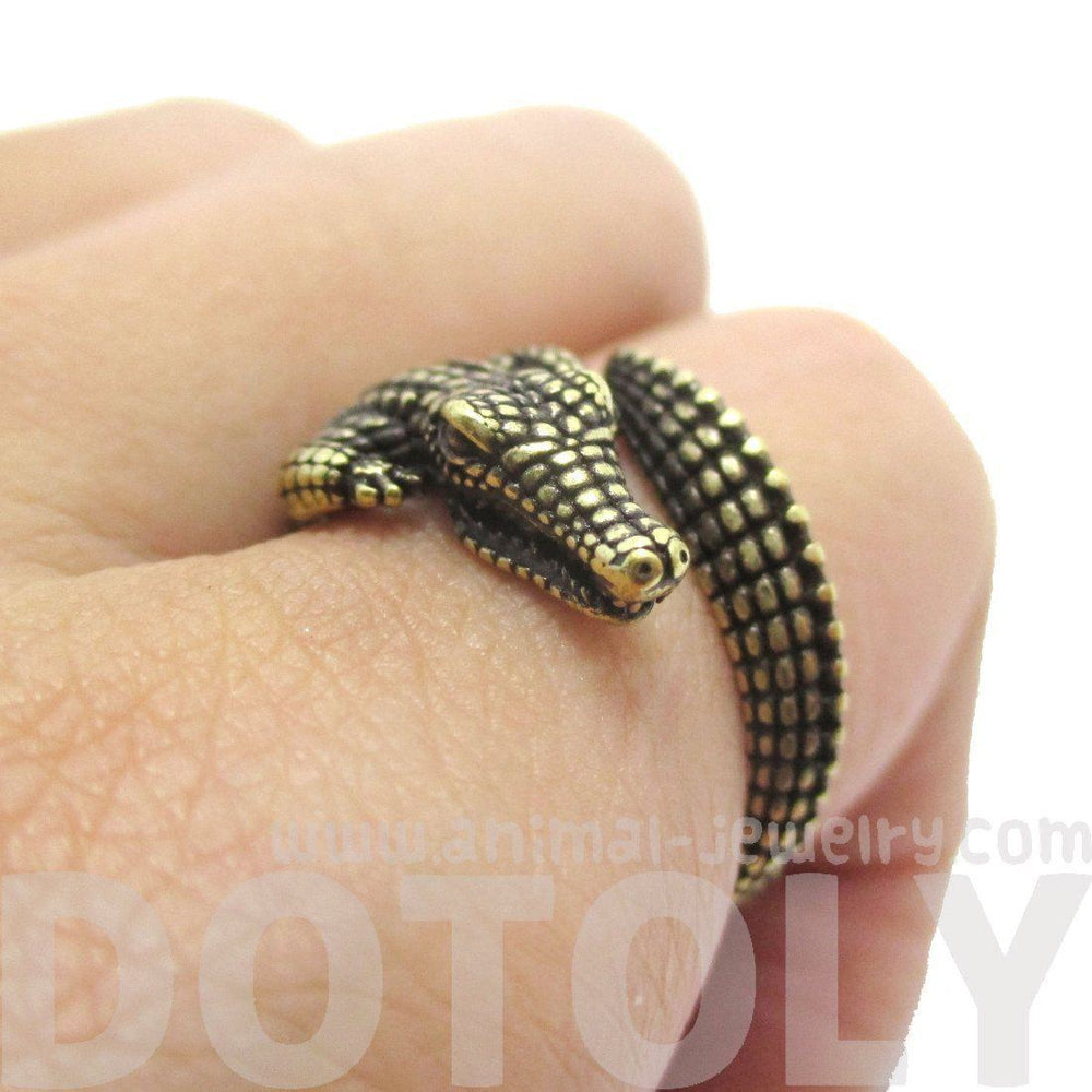 3D Crocodile Alligator Shaped Animal Wrap Around Ring in Brass | US Size 5 to 9 Available | DOTOLY