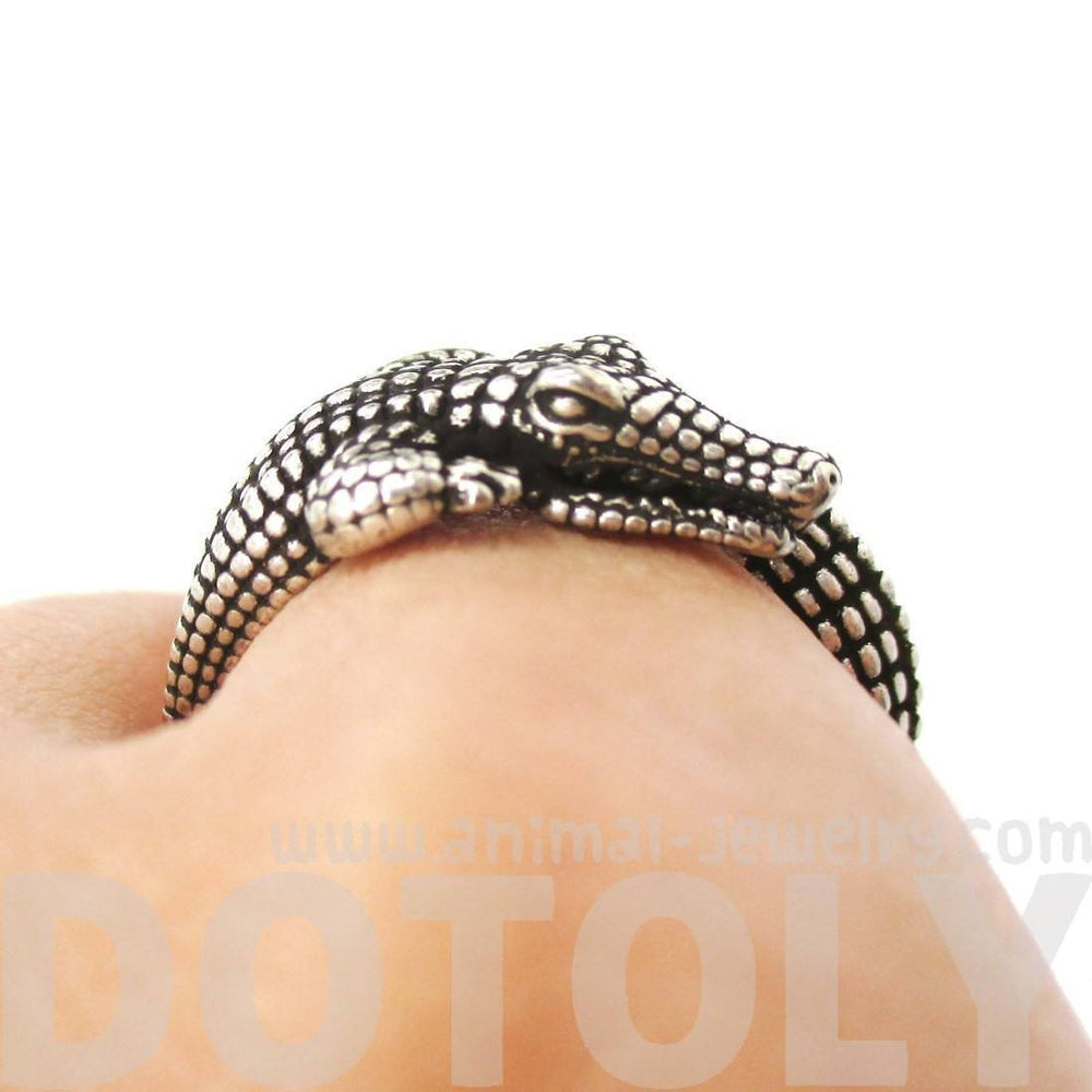 3D Crocodile Alligator Shaped Animal Wrap Around Ring in Silver | US Size 5 to 9 Available | DOTOLY