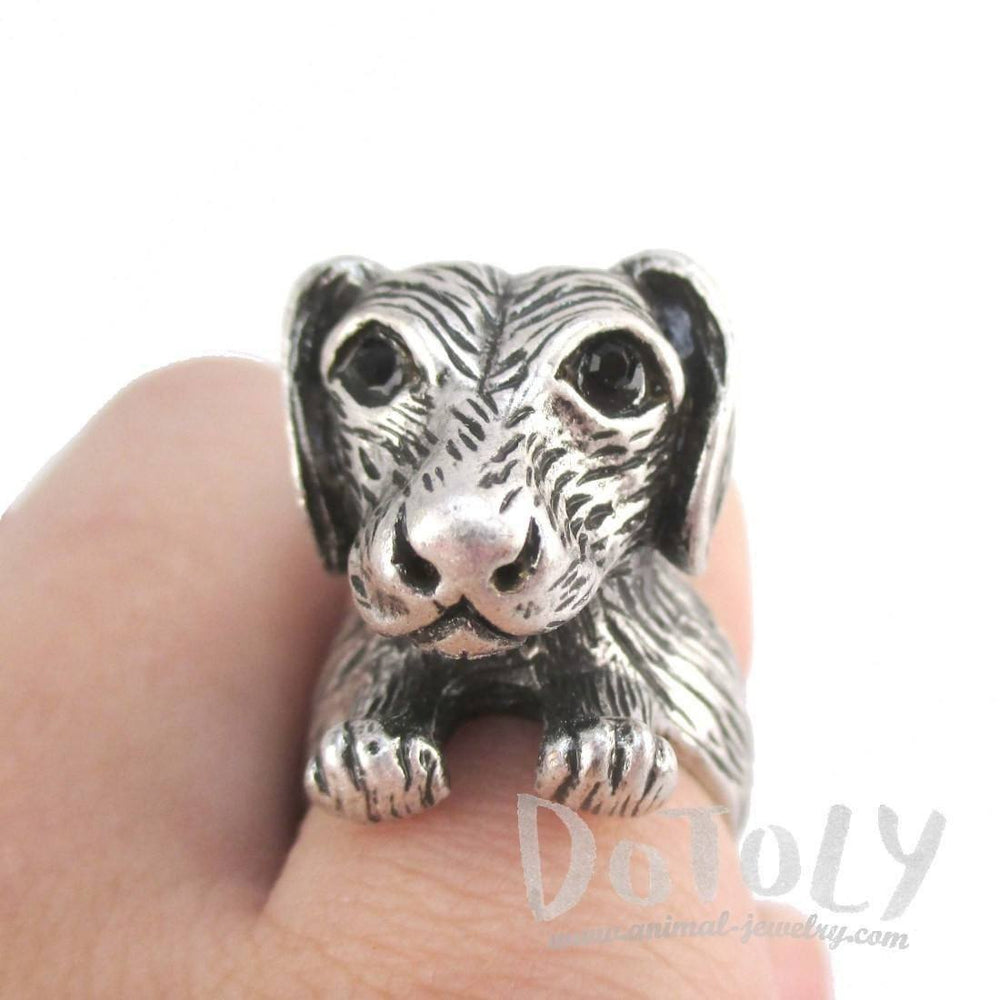 3D Dachshund Dog Shaped Animal Ring in Silver for Dog Lovers | DOTOLY