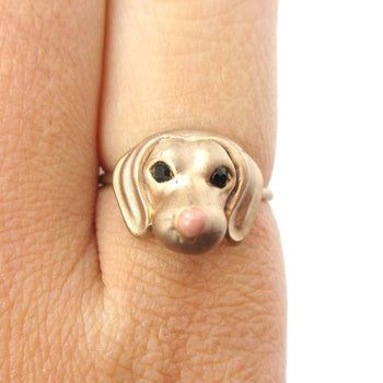 3D Dachshund Puppy Face Shaped Animal Ring in Size 6 | Gifts for Dog Lovers | DOTOLY