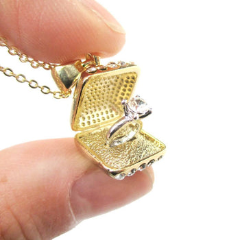 3D Diamond Ring Love Proposal Pendant Necklace in Gold | Anniversary Gifts | DOTOLY