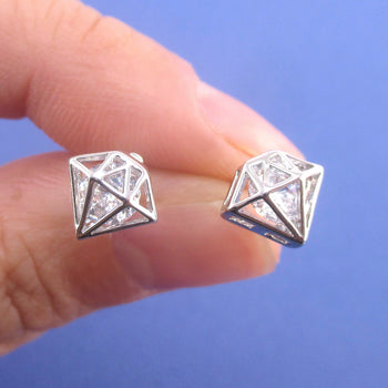 3D Diamond Shaped Rhinestone Stud Earrings in Silver
