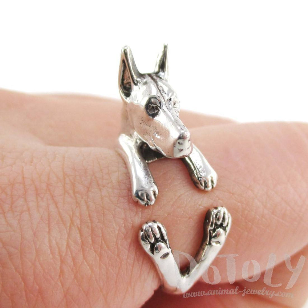 3D Doberman Pinscher Dog Shaped Animal Wrap Ring in 925 Sterling Silver | Sizes 5 to 8.5 | DOTOLY