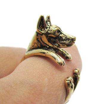 3D Doberman Pinscher Dog Shaped Animal Wrap Ring in Shiny Gold | Sizes 5 to 9 | DOTOLY