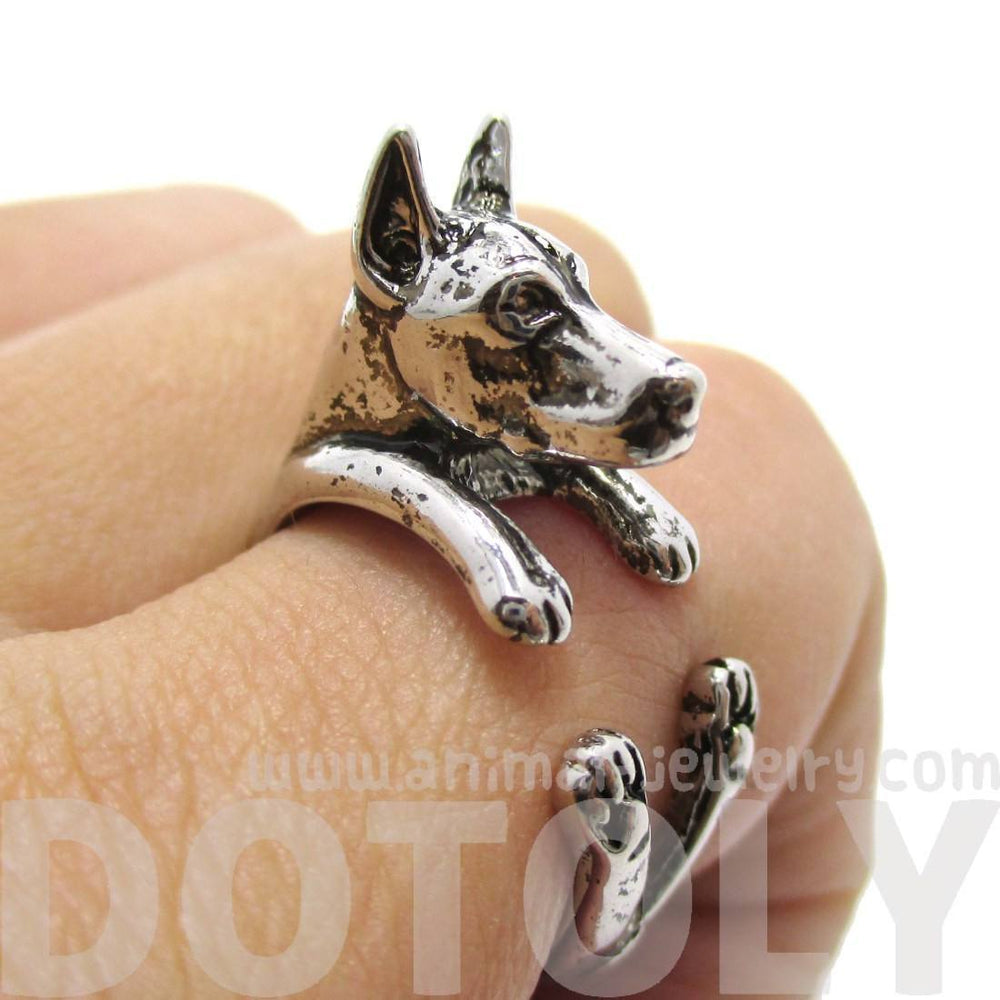 3D Doberman Pinscher Dog Shaped Animal Wrap Ring in Shiny Silver | Sizes 5 to 9 | DOTOLY