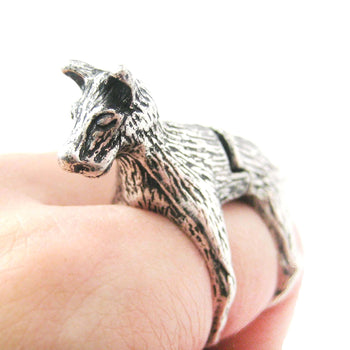 3D Dog Shaped Animal Wrap Armor Knuckle Joint Ring in Silver | Size 5 to 9 | DOTOLY