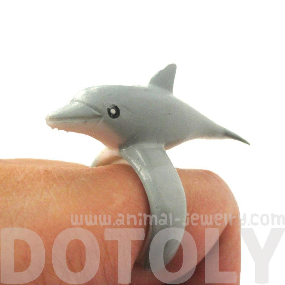3D Dolphin Figurine Shaped Animal Wrap Ring for Kids | US Size 4 to size 6 | DOTOLY