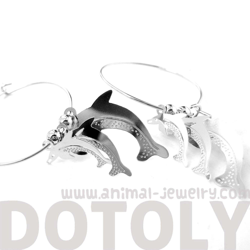3D Dolphin Shaped Dangle Hoop Earrings in Silver | Animal Jewelry | DOTOLY
