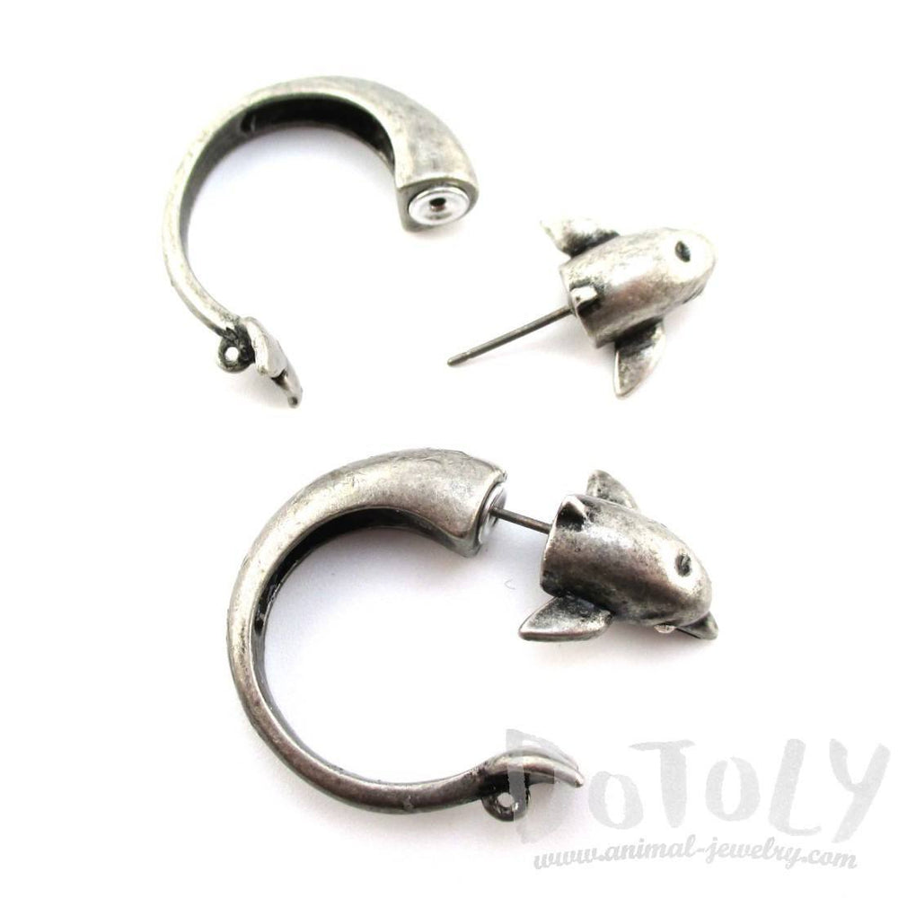3D Dolphin Shaped Front and Back Two Part Stud Earrings in Silver | DOTOLY