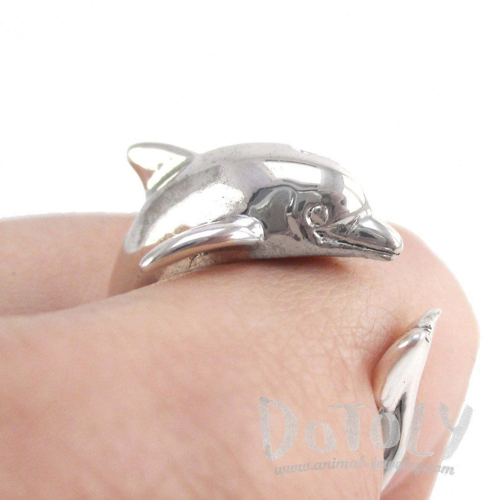 3D Dolphin Shaped Wrap Around Animal Ring in 925 Sterling Silver