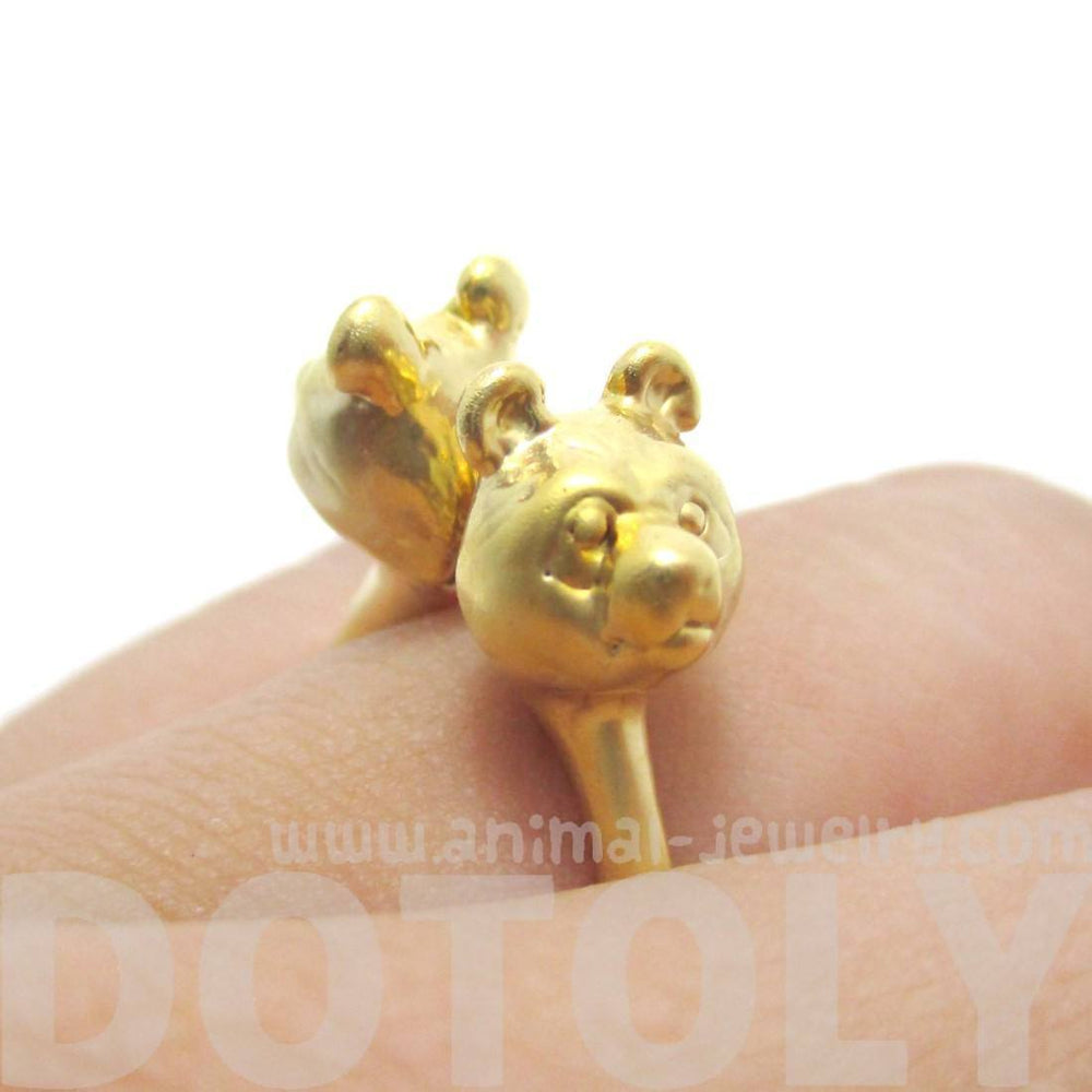 3D Double Panda Bear Head Shaped Ring in Gold | Animal Jewelry | DOTOLY