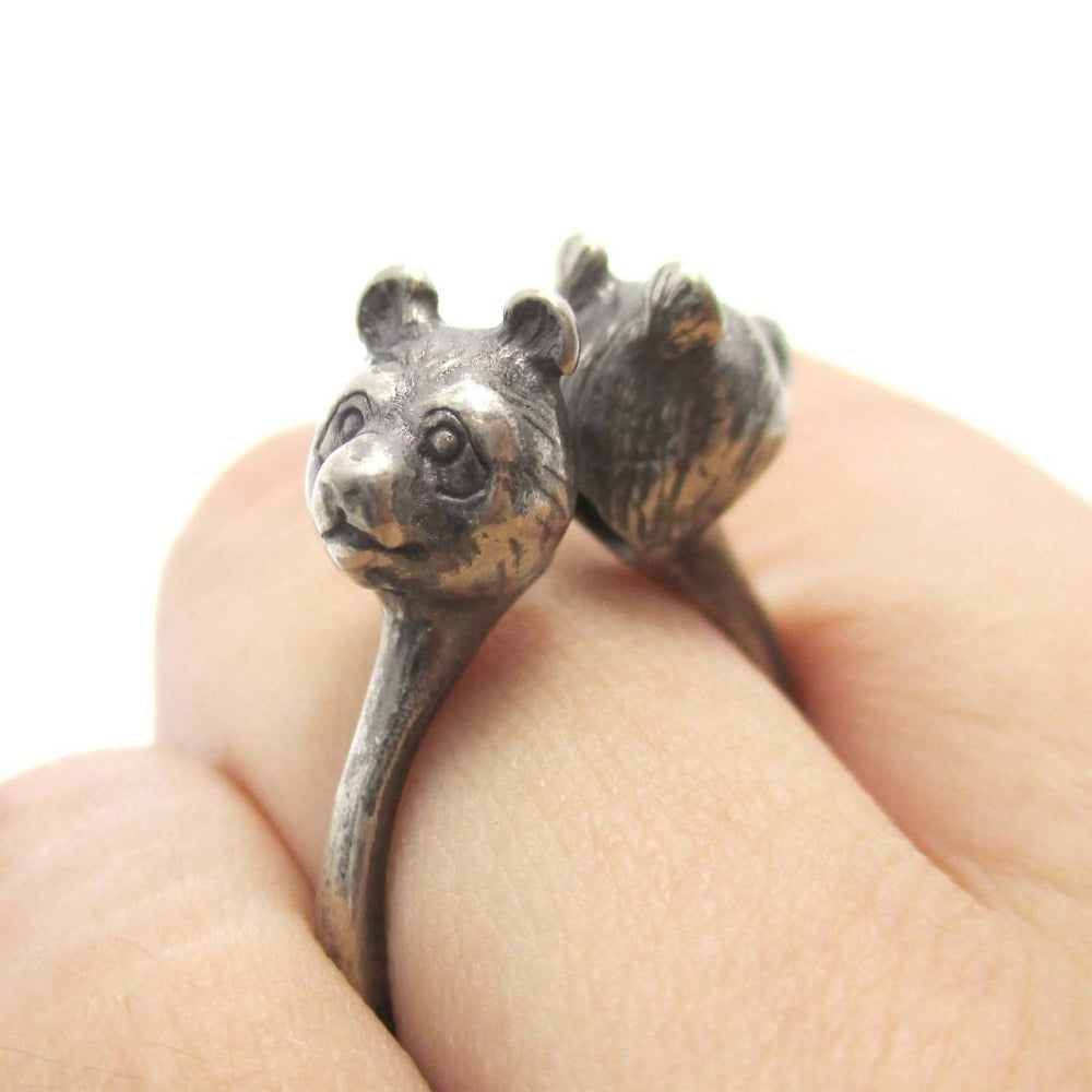 3D Double Panda Bear Head Shaped Ring in Silver | Animal Jewelry | DOTOLY