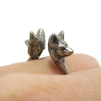3D Double Wolf Face Shaped Ring in Silver | Animal Jewelry | DOTOLY