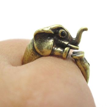 3D Elephant Shaped Animal Hug Ring in Brass | US Sizes 6 to 8 | DOTOLY