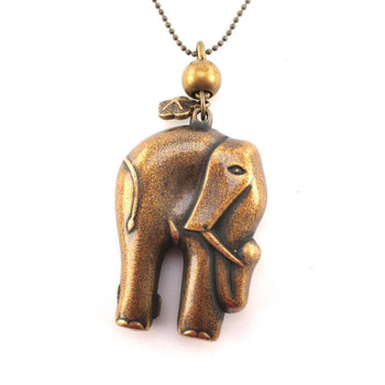 3D Elephant Shaped Pendant Necklace in Brass | Animal Jewelry | DOTOLY