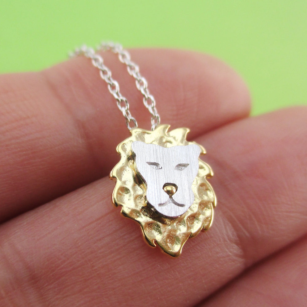 3D Fierce Lion Face Shaped Animal Themed Pendant Necklace in Silver
