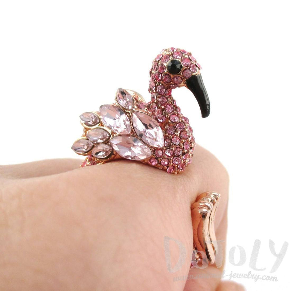 3D Flamingo Bird Shaped Animal Wrap Ring in Pink with Rhinestones | US Size 6 to 7 | DOTOLY
