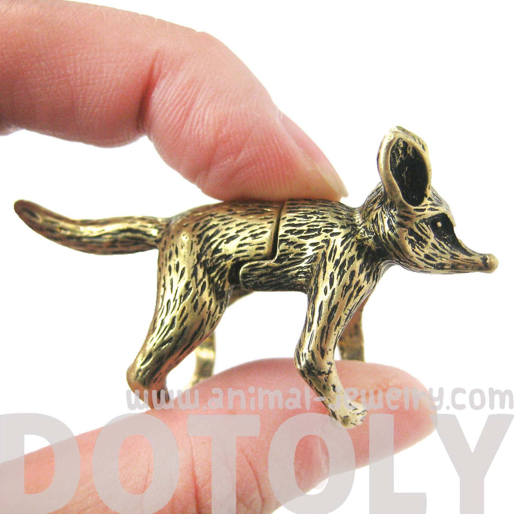 3D Fox Wolf Shaped Animal Wrap Armor Knuckle Joint Ring in Brass | Size 5 to 9 | DOTOLY
