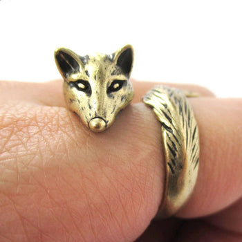 3D Fox Wrapped Around Your Finger Shaped Animal Ring in Brass | US Size 5 to 9 | DOTOLY