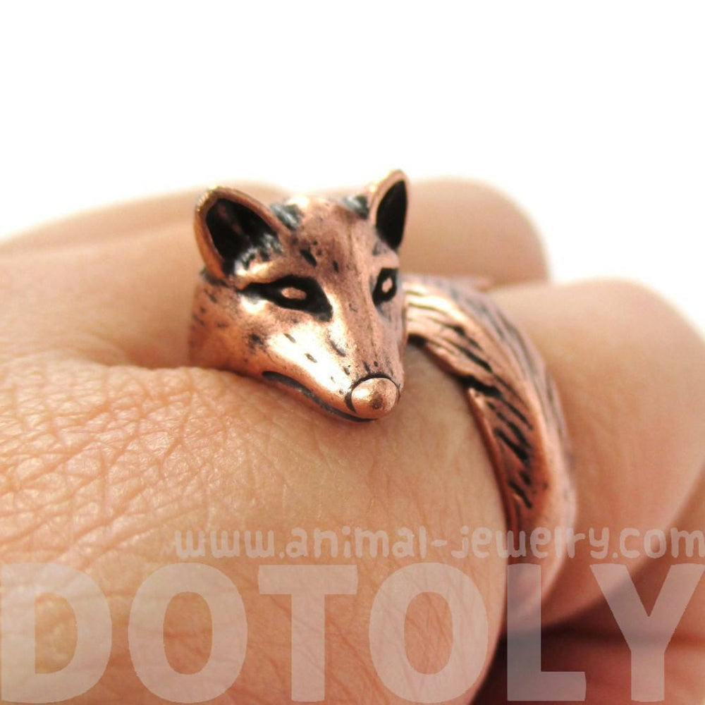 3D Fox Wrapped Around Your Finger Shaped Animal Ring in Copper | US Size 5 to 9 | DOTOLY