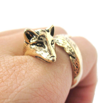 3D Fox Wrapped Around Your Finger Shaped Animal Ring in Shiny Gold | US Size 5 to 9 | DOTOLY