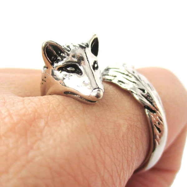 Realistic Fox Shaped Animal Wrap Ring In Shiny Silver Dotoly