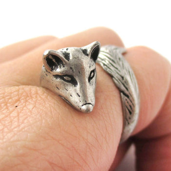 3D Fox Wrapped Around Your Finger Shaped Animal Ring in Silver | US Size 5 to 9 | DOTOLY