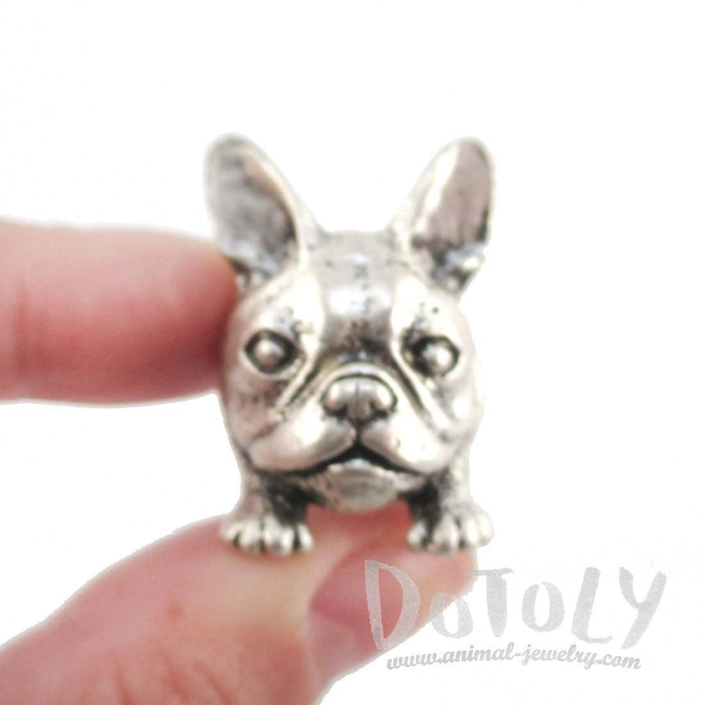 3D French Bulldog Face Shaped Animal Ring in Silver | Animal Jewelry