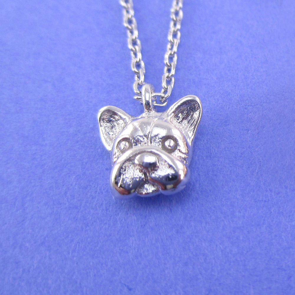 3D French Bulldog Puppy Dog Face Shaped Dainty Pendant Necklace