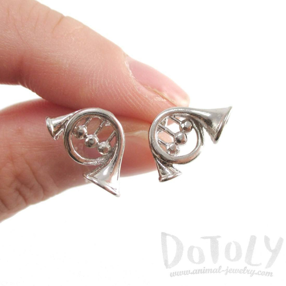 3D French Horn Shaped Music Themed Stud Earrings in Silver | DOTOLY | DOTOLY