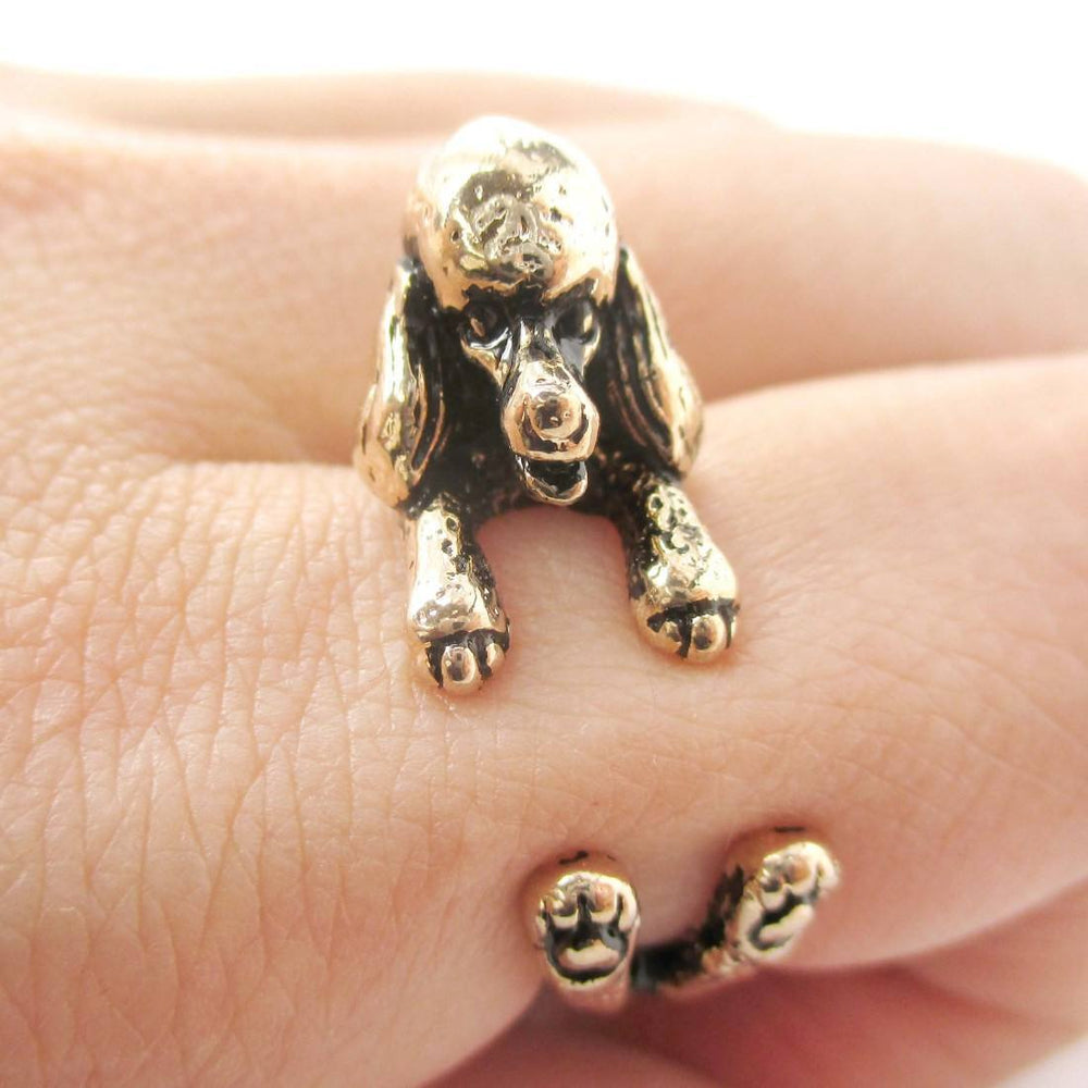 3D French Poodle Dog Shaped Animal Wrap Ring in Shiny Gold | Sizes 4 to 8.5 | DOTOLY