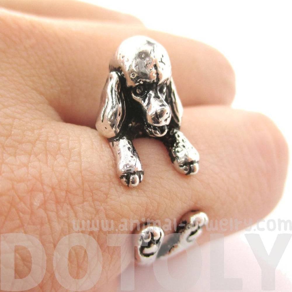 3D French Poodle Dog Shaped Animal Wrap Ring in Shiny Silver | Sizes 4 to 8.5 | DOTOLY