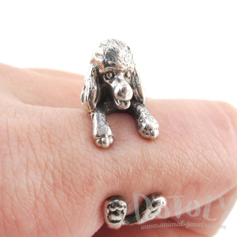 3D French Poodle Shaped Animal Wrap Ring in 925 Sterling Silver | Sizes 4 to 8.5 | DOTOLY