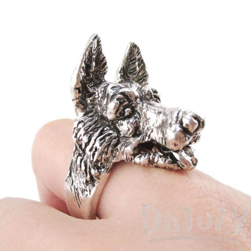 3D German Shepherd Head Shaped Animal Ring in Silver | Gifts for Dog Lovers | DOTOLY