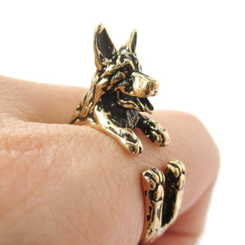 3D German Shepherd Shaped Animal Wrap Ring in Shiny Gold | Sizes 4 to 8.5 | DOTOLY