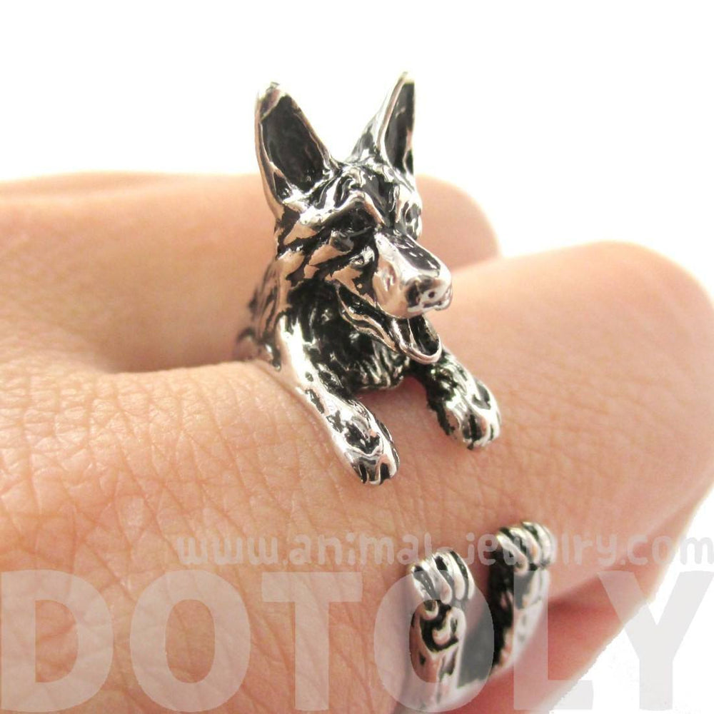 3D German Shepherd Shaped Animal Wrap Ring in Shiny Silver | Sizes 4 to 8.5 | DOTOLY