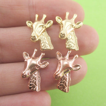 3D Giraffe Head Shaped Allergy Free Stud Earrings in Gold or Rose Gold