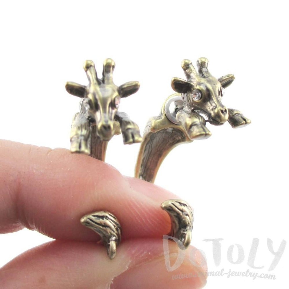 3D Giraffe Shaped Front and Back Two Part Stud Earrings in Brass | DOTOLY