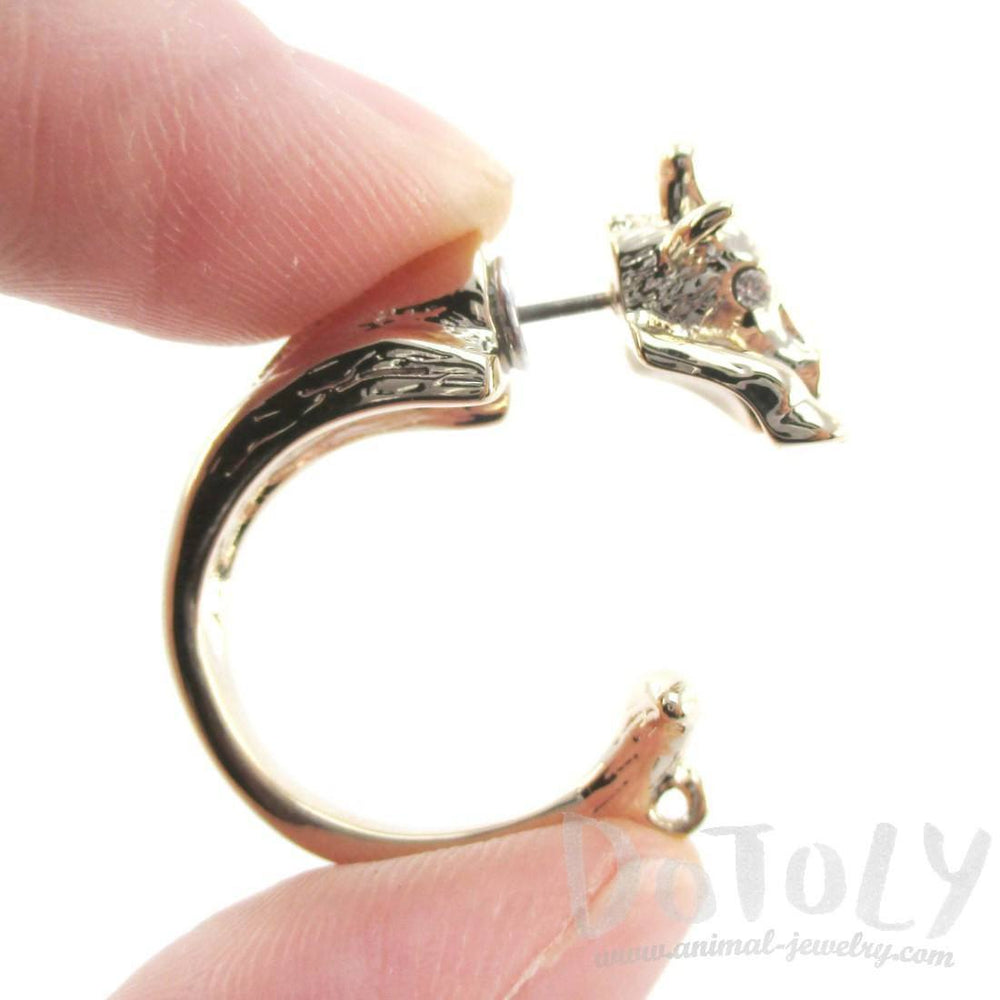 3D Giraffe Shaped Front and Back Two Part Stud Earrings in Gold | DOTOLY
