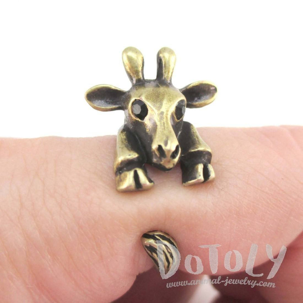 3D Giraffe Wrapped Around Your Finger Animal Ring in Brass | DOTOLY