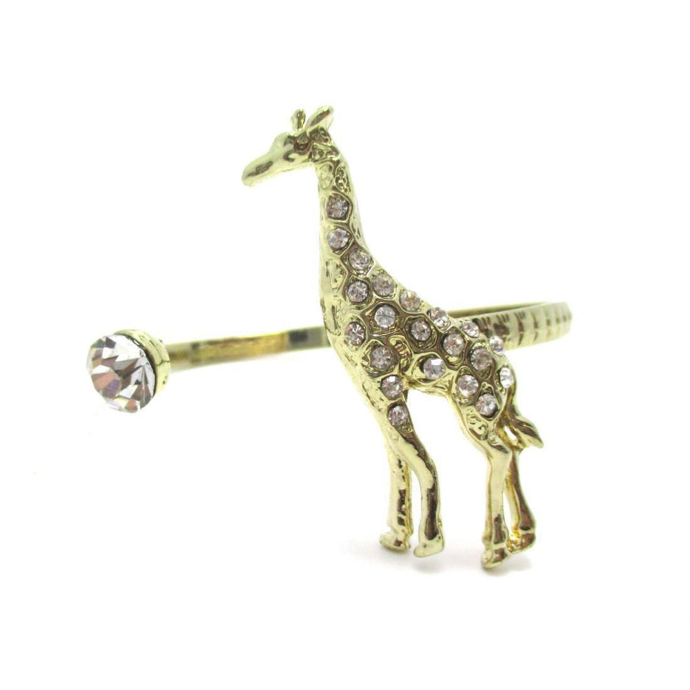 3D Giraffe Wrapped Around Your Wrist Bangle Cuff Bracelet in Gold | DOTOLY