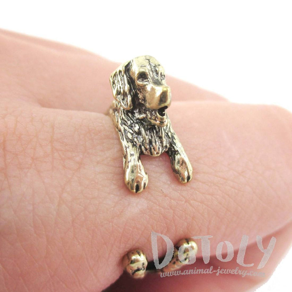 3D Golden Retriever Shaped Animal Wrap Ring in Brass | Animal Rings